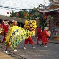 Китайские львы идут в храм